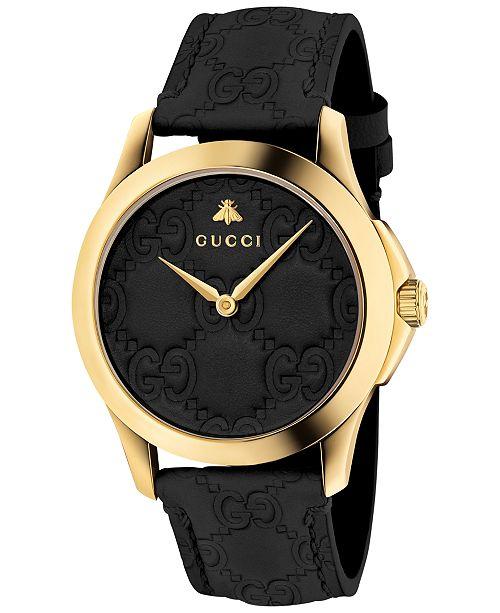 3dda24592f83 ... Gucci Unisex Swiss G-Timeless Black Leather Strap Watch 38mm ...