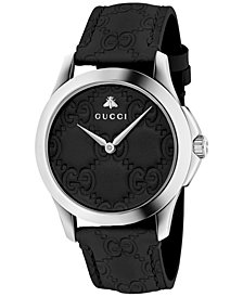 Gucci Unisex Swiss G-Timeless Black Gucci Leather Strap Watch 38mm