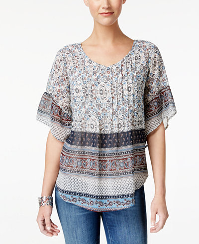 Style & Co Pintucked Peasant Top, Created for Macy's