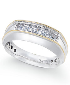 Men's Diamond Two-Tone Five-Stone Ring (1/2 ct. t.w.) in 10k Gold & White Gold