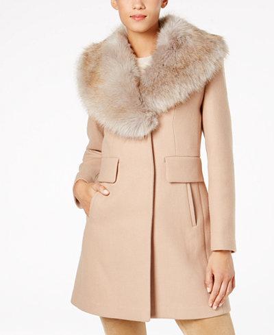 Kate Spade New York Faux-Fur-Collar Walker Coat - Women - Macy's