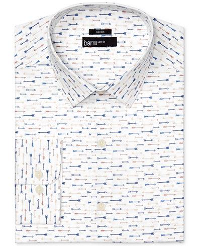Bar III Men's Slim-Fit Stretch Easy Care Arrow Print Dress Shirt, Created for Macy's