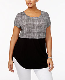 Alfani Plus Size Two-Tone T-Shirt, Created for Macy's