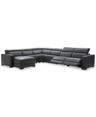 Nevio 6 Pc Leather Sectional Sofa With Chaise 2 Recliners And Articulating Headrests Created For Macy S