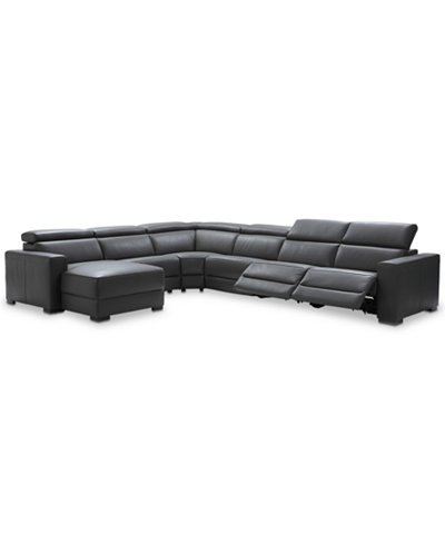 Nevio 6 Pc Leather Sectional Sofa With Chaise 2 Power