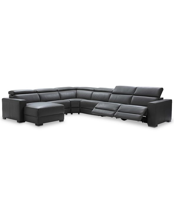 Furniture Nevio 6-pc Leather Sectional Sofa with Chaise, 2 Power Recliners and Articulating Headrests, Created for Macy's