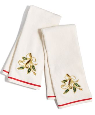 Set of 2 Ivory Ribbon Holly Embroidered Kitchen Linens, Created for Macy's