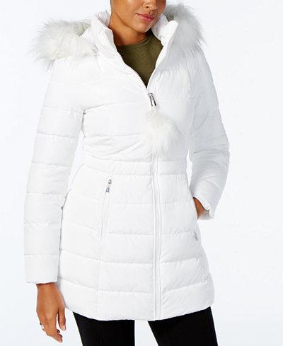 I.N.C. Faux-Fur-Trim Puffer Coat, Created for Macy's