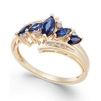 Macy's Sapphire (3/4 ct. t.w.) & Diamond (1/10 ct. t.w.) in 14k Gold