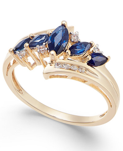 Sapphire (3/4 ct. t.w.) & Diamond (1/10 ct. t.w.) in 14k Gold (Also in Emerald, Tanzanite and Certified Ruby)