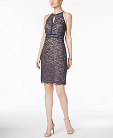 Nightway Lace Keyhole Sheath Dress