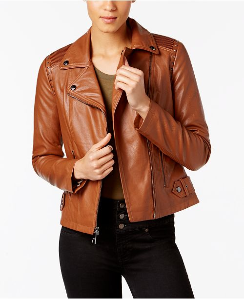 35753caaa78 GUESS Studded Faux-Leather Moto Jacket, Created for Macy's & Reviews ...