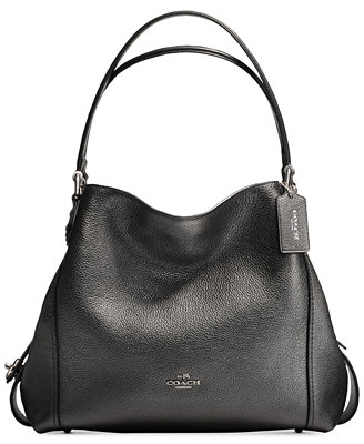 Tote - Edie 28 Shoulder Bag Metallic Graphite - black - Tote for ladies Coach