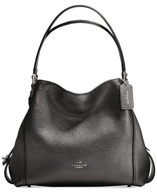 COACH Edie Shoulder Bag 31 In Metallic Leather - Handbags ... 227727da69ea1