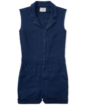 Ralph Lauren Sleeveless Denim Shortall, Big Girls (7-16)