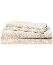 CLOSEOUT! Lauren Ralph Lauren Spencer Cotton 4-Pc. Basketweave King Sheet Set