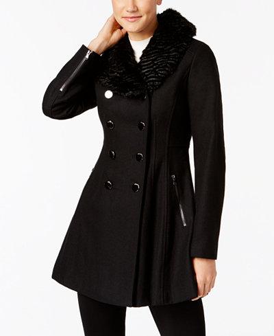 Guess Faux Fur Trim Skirted Peacoat Coats Women Macy S