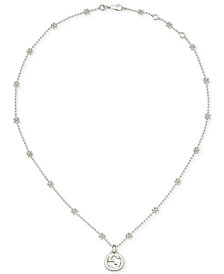 Gucci Beaded Cluster Interlocking Logo Pendant Necklace in Sterling Silver