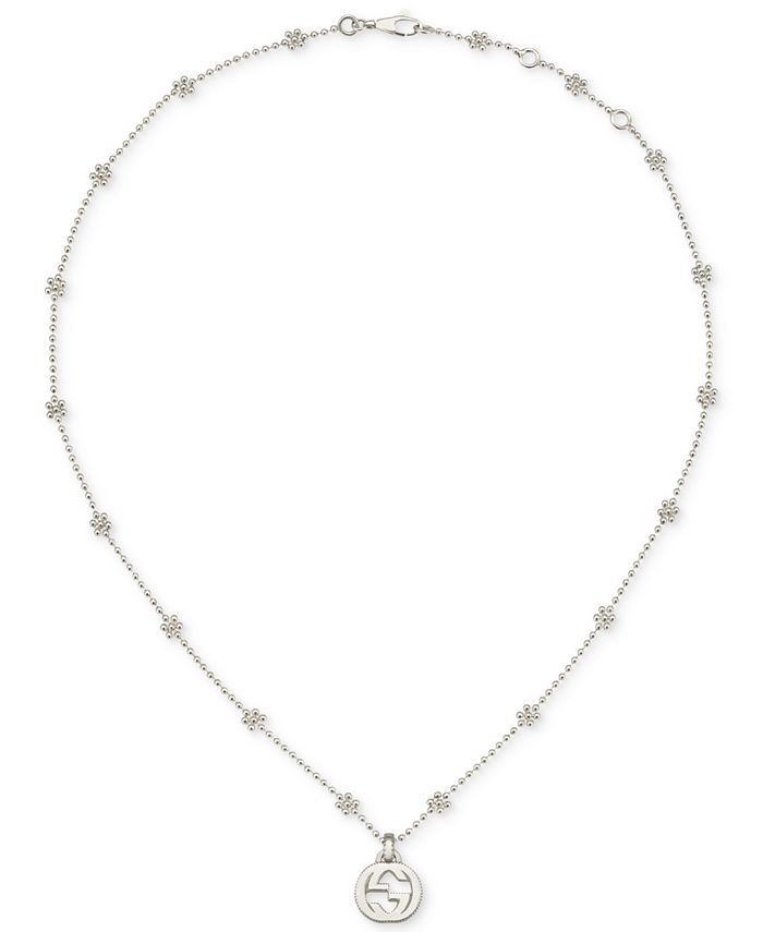 Gucci - Beaded Cluster Interlocking Logo Pendant Necklace in Sterling Silver