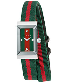 Gucci Women's Swiss G-Frame Green-Red-Green Nylon Strap Watch 14x25mm