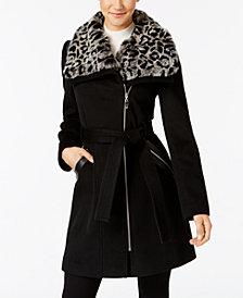 Via Spiga Faux-Fur-Collar Asymmetrical Belted Coat