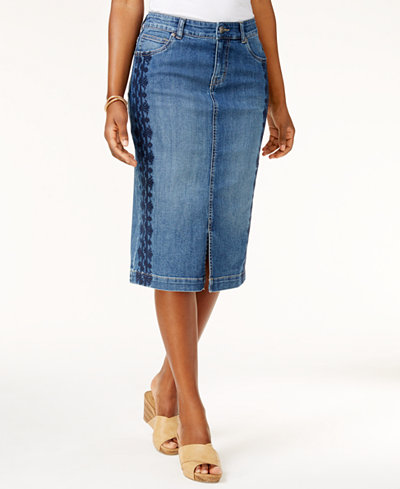 Style & Co Embroidered Denim Skirt, Created for Macy's - Skirts ...