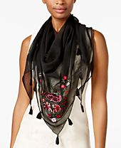 INC International Concepts Floral Embroidered Triangle Scarf, Created for Macy's