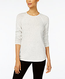 Karen Scott Petite Flecked Curved-Hem Sweater, Created for Macy's