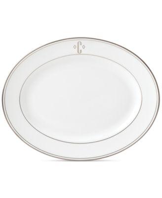 Federal Platinum Monogram Oval Platter, Block Letters