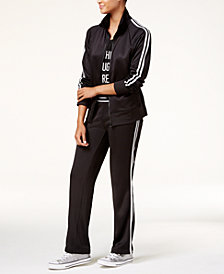 Material Girl Active Juniors' Track Jacket, Cold-Shoulder T-Shirt & Track Pants, Created for Macy's
