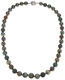 Cultured Black Tahitian Pearl (8-10mm) Statement Necklace in 14k White Gold