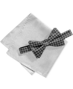 Alfani Men's Geometric Pre-Tied Bow Tie & Pocket Square Set, Created for Macy's thumbnail