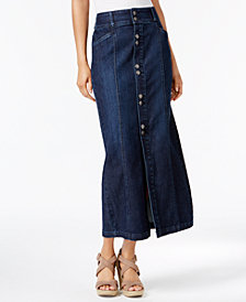 Style & Co Button-Front Midi Denim Skirt, Created for Macy's