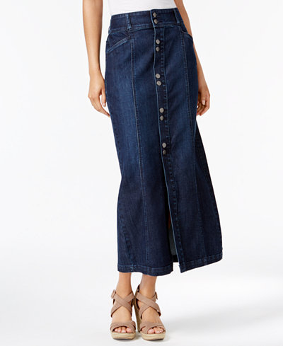 Style & Co Button-Front Midi Denim Skirt, Created for Macy's ...