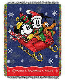 "Disney Mickey Mouse ""Mickey's Sleigh Ride""  48"" x 60"" Triple Woven Tapestry Throw"