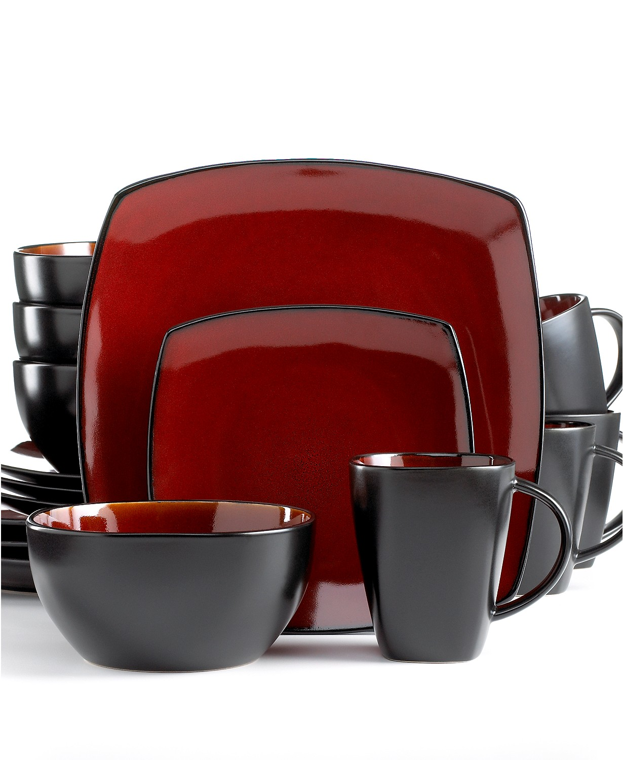 Gibson Signature Living Barcelona Red 16-Pc. Dinnerware Set
