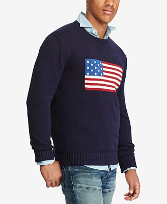 Polo Ralph Lauren Mens American Flag Cotton Sweater Sweaters