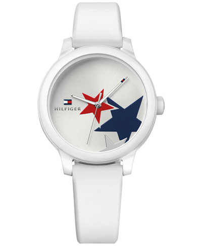 Tommy Hilfiger Women's Ashley White Silicone Strap Watch 38mm