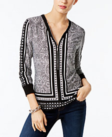 I.N.C. Printed Zip-Up Top, Created for Macy's