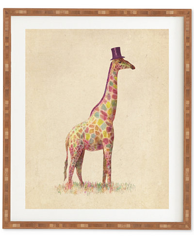 Deny Designs Terry Fan Fashionable Giraffe Bamboo-Framed Wall Art