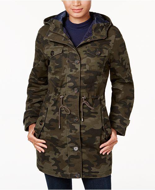 299c82399d5a6 BCBGeneration Camo-Print Faux-Fur-Trim Coat & Reviews - Coats ...