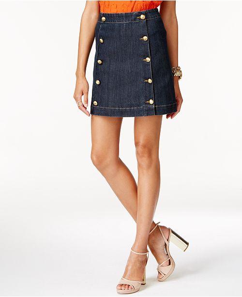 Michael Kors Embellished Denim Mini Skirt