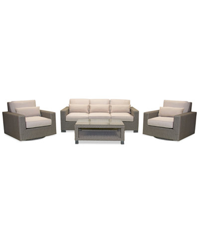 Del Mar 4-Pc. Set (1 Sofa, 2 Swivel Chairs & 1 Coffee Table), Created for Macy's