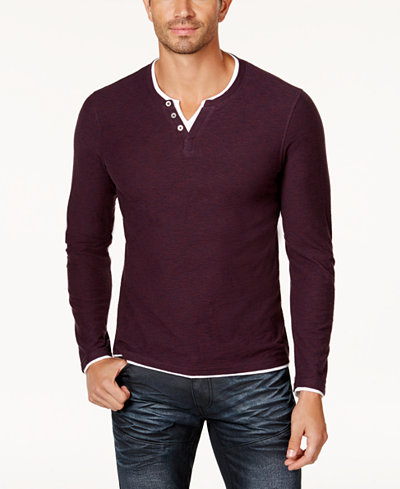 I.N.C. Men's Long-Sleeve Split-Neck T-Shirt, Created for Macy's ...