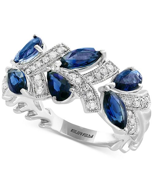 EFFY Collection Royalé Blue by EFFY® Sapphire (1-3/4 ct. t.w.) & Diamond (1/8 ct. t.w.) Ring in 14k White Gold