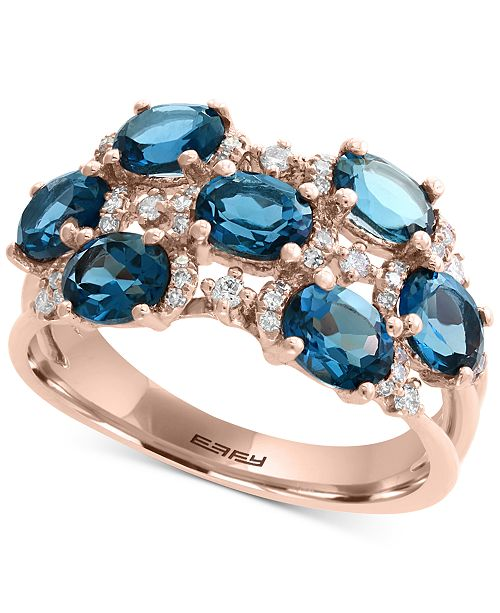 EFFY Collection EFFY® London Blue Topaz (3-1/4 ct. t.w.) & Diamond (1/4 ct. t.w.) Ring in 14k Rose Gold