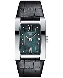 Tissot Women's Swiss Generosi-T Diamond Accent Black Leather Strap Watch 28x24mm