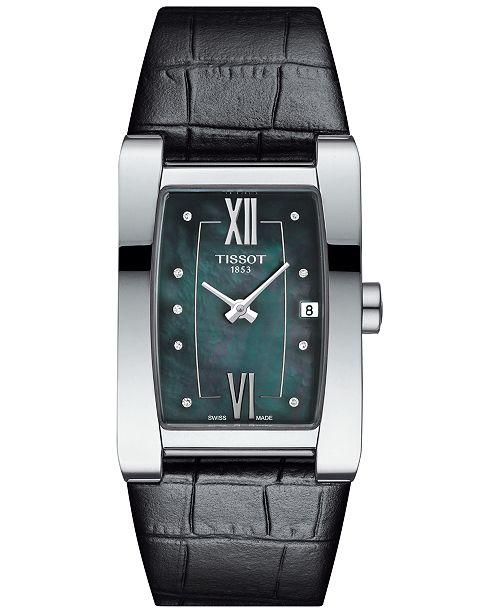 Tissot Women's Swiss Generosi-T Diamond Accent Black Leather Strap Watch 28x24mm