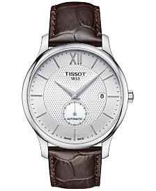Tissot Men's Swiss Automatic Tradition Brown Leather Strap Watch 40mm