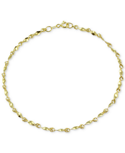 Giani Bernini Twist Link Ankle Bracelet In 18k Gold Plated Sterling Silver Created For